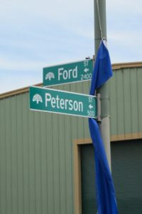 Street sign at the intersection of Ford and Peterson Streets -- Rue de Merde -- Jingletown, Oakland, CA. Photo by BF Newhall
