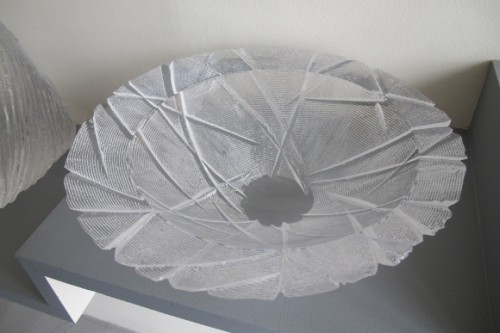 """A cast and scored clear acrylic bowl by Philip Dow, """"Vessel Seven,"""" Photo by BF Newhall"""