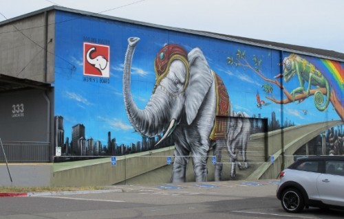 A mural embellishes the logo of  the Oakland Museum Women's Board on Lancaster Street, Jingletown, Oakland, CA. The mural depicts an elephat with raised trunk. Photo by BF Newhall