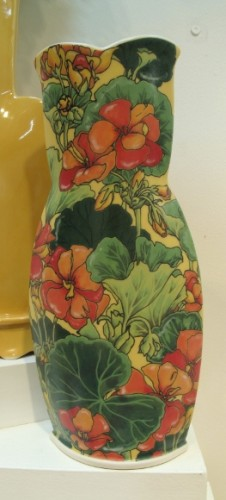 It took ceramic artist Sarah Gregory two weeks just to paint the flowers on this vase. Photo by BF Newhall