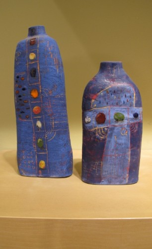 Dahli Tutman' Two blue ceramic vases at the Berkeley Potters Guild, Berkeley, CA. Photo by BF Newhall http://BarbaraFalconerNewhall