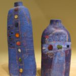 Dahli Tutman, Two blue vases, $500 and $400.. Berkeley Potters Guild, Berkeley, CA