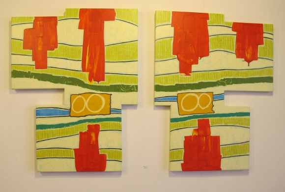 """Diptych,"" by Berkeley, CA, Painter, Judy Seidel is two jig-sawed pieces of wook painted abstractly with red, green and yellow shapes. Photo by BF Newhall"
