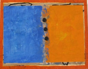 An abstract painting by Berkeley, CA, painter Judy Seidel is half blue and half orange. Photo by BF Newhall