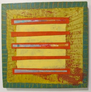 An abstract painting by Berkeley, CA, artist Judy Seidel has square yellow center with red stripes. Photo by BF Newhall
