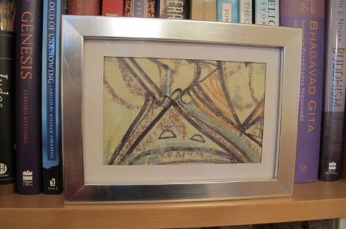"Abstract drawing, ""Drawings of Symbols,"" by sculptor Patricia Bengtson-Jones, 2014. Conte pencil, ink, Conte pastels.  Photo by BF Newhall"