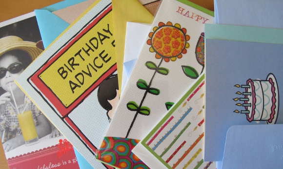 An array of commercial birthday cards for mailing. Photo by BarbaraNewhall