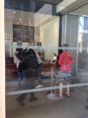 Glass wall at Los Angeles County Museum of Art (LACMA)  Coffee + Milk cafe after a second safety strip was installed June 11, 2014. LACMA photo