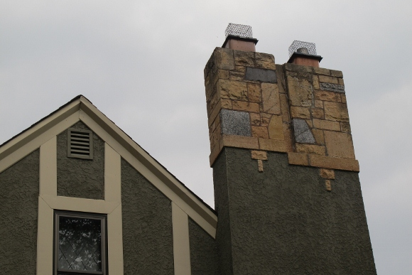 Brick work on the chimney of  a Tudor bungalow in Minneapolis. Photo by Barbara Newhall