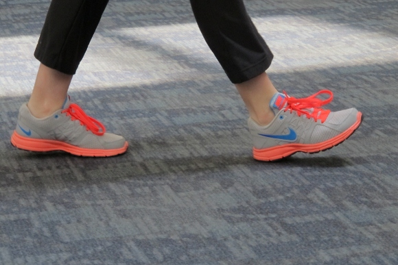 Orange and gray sneakers spotted at the Delta gate at SFO. Photo by Barbara Newhall