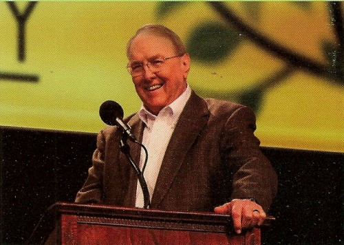 Recent photo of Focus on the Family founder James Dobson at a podium, talking.