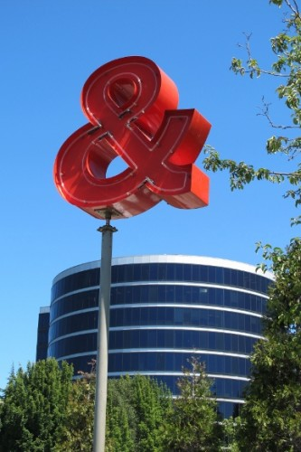 "A red ampersand is a detail of ""Love & Loss,"" a sculpture in Seattle by Roy McMakin. Photo by Barbara Newhall"
