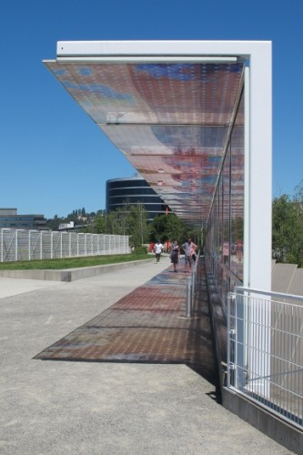"""Seattle Cloud Cover,"" by Teresita Fernandez, 2006, a pedestrian bridge with photographic material between layers of glass."