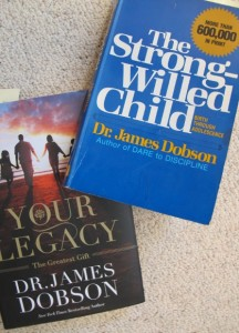 "Cover of 1985 trade paperback edition of James Dobson's ""The Strong-Willed Child"" and cover of his 2014 book ""Your Legacy."""