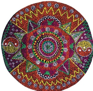 A circular mandala by Gracie Lowres, created for KidSpirit OnLine's Rituals & Traditions issue. Art c 2014 by Gracie Lowres