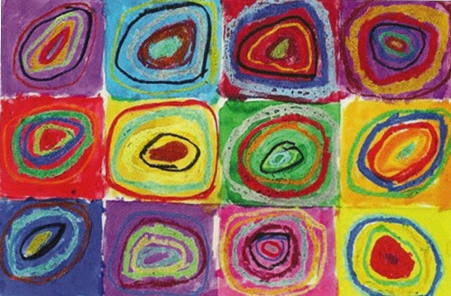 Abstract multicolored art with circles and squares by for Kidspirit Online by Eliie Green. Art by Ellie Green.