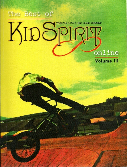 The cover of The Best of KidSpirit OnLine, Vol. II, shows a intense sport bicyclist. Photo by Jack True.