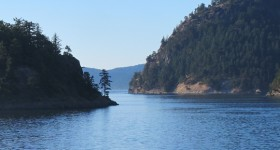 The view from the bow of a ferry boat making its way through the San Juan Islands in summer. Photo by Barbara Newhall