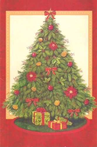 A perfect Christmas tree pictured on a Christmas card.