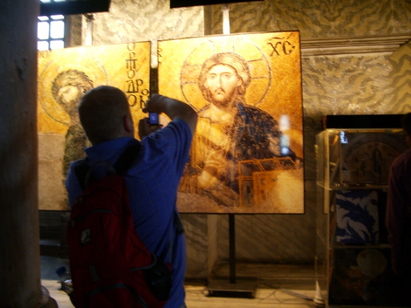 A replica of an image of Jesus found on the  the walls of Istanbul's ancient Hagia Sophia gives visitors a close up look at the centuries-old Eastern Orthodoz icon. Photo by Barbara Newhall