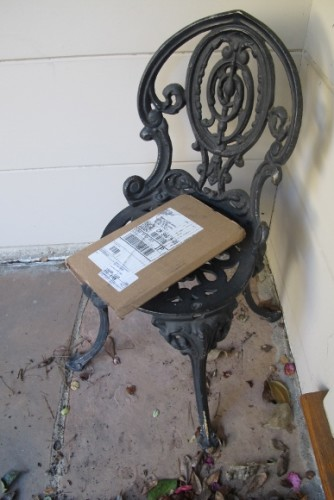 A copy of Barbara Falconer Newhall's paperback book Wrestling with God arrives at her doorstep by UPS. Photo by Barbara Newhall