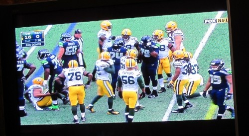 nfl 2015 superbowl playoffs, seattle-greenbay, TV screen shot of game. Photo by Barbara Newhall