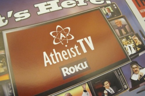 A brochure for Atheist TV on Roku was on display at the 2014 Religion Newswriters Conference. Photo by Barbara Newhall
