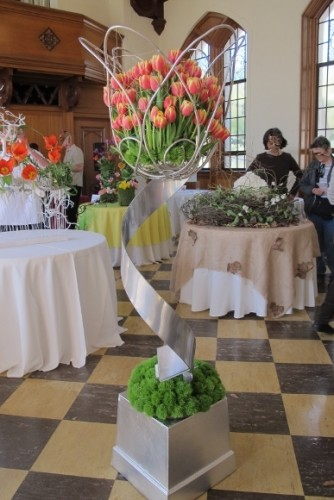 """At the 2015 Mountain View Cemetery Tulip Exhibition, Oakland, CA, """"Steel Tulip"""" by Nona Tai, Floral Design Studio, Fremont,. Photo by Barbara Newhall"""