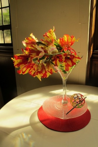 """""""Happy Hour."""" a floral design for the Mountain View Cemetery 2015 Tulip Exhibition, Oakland,  California. Design by Agnes Kang of the Piedmont Garden Club. Photo by Barbara Newhall"""