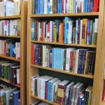 "Barbara Falconer Newhall's book, ""Wrestling with God,"" is shelved in the spirituality section of the Book Passage book store in Marin county, California. Photo by Barbara Newhall"
