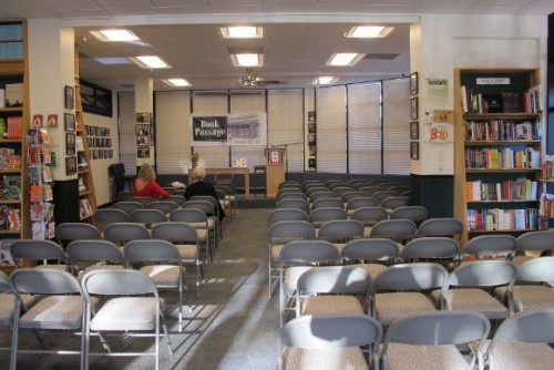 "A room full of empty chairs at Book Passage bookstore, California, awaits Barbara Falconer Newhall's book launch for ""Wrestling with God."" Photo by Jon Newhall"