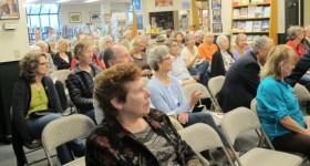 "The audience of about 40 people at Barbara Falconer Newhall's author event for ""Wrestling wiht God"" on april 11, 2015, at Book Passage bookstore. Photo by Jon Newhall"