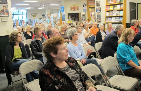 "The audience of about 40 people at Barbara Falconer Newhall's book launch for ""Wrestling wiht God"" on april 11, 2015, at Book Passage bookstore. Photo by Jon Newhall"