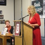 """Barbara Falconer Newhall and Cerridwen Fallingstar read from Newhall's book """"Wrestling with God"""" at Book Passage bookstore book launch. Photo by Jon Newhall"""