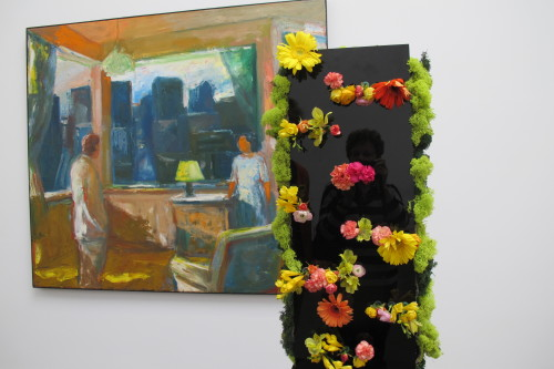 "Floral design by Members of the Hillsborough, California,  Garden Club to complement  Elmer Bischoff's ""Yellow Lampshade"""
