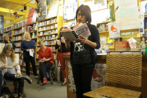 "Michelle Cruz Gonzales read her story published in ""Listen to Your Mother"" (Putnam) at a book reading held at A Great Good Place for Books bookstore in Oakland, CA, April 24, 2015. Photo by Barbara Newhall"