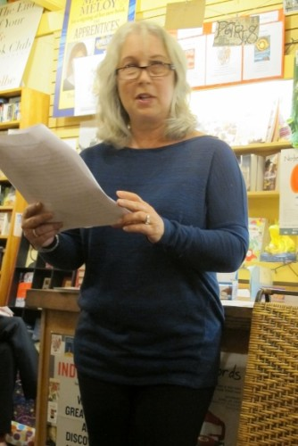 "Oakland writer Risa Nye read from her story published in ""Listen to Your Mother"" (Putnam) at a book reading held at A Great Good Place for Books bookstore in Oakland, CA, April 24, 2015. Photo by Barbara Newhall"