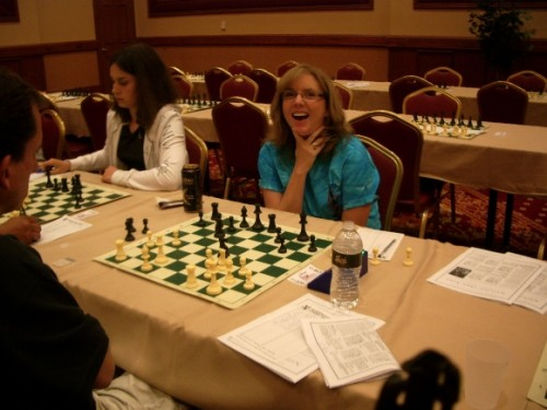 Cindy Weyant plays chess at the National Open in Las Vegas in 2010. Photo by Barbara Newhall