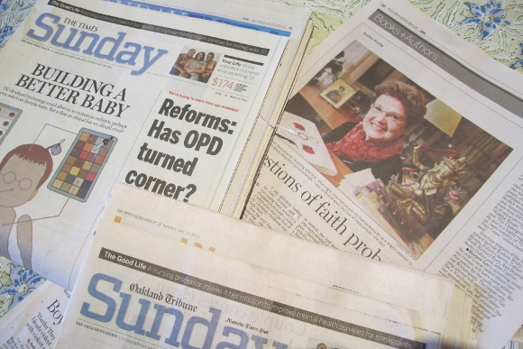 Bay Area News Group runs a newspaper story on May 10, 2015. It's an interview with Barbara Falconer Newhall by Georgia Howe. Photo by Barbara Newhall