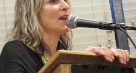 "Rebecca Foust, author of ""Paradise Drive: Poems,"" spoke at Book Passage bookstore in Corte Madera, CA, in 2015. Writers Photo by Barbara Newhall"