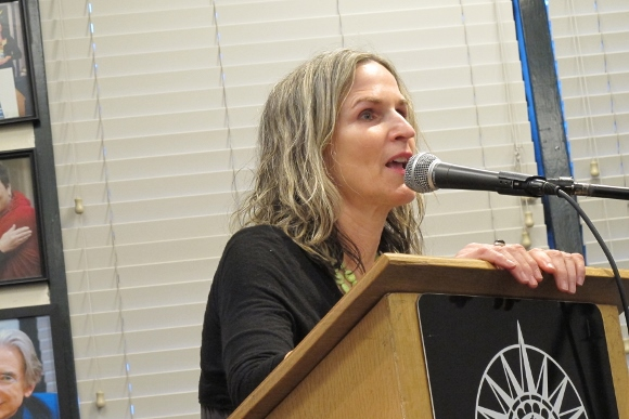 "California poets, Rebecca Foust, author of ""Paradise Drive:  Poems,"" spoke at Book Passage bookstore in Corte Madera, CA, in 2015. Photo by Barbara Newhall"