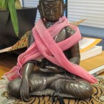 """Jeff Greenwald, author of """"Shopping for Buddhas,"""" settled on purchasing this Buddha during his shopping serach in Nepal. It is the touching the Earth Buddha mudra. Photo by Barbara Newhall writers"""