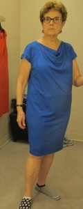 looking for a dress for neic's wedding. nordstrom. Blue Eileen fisher sheath on sale for $93.98. Photo by Barbara Newhall