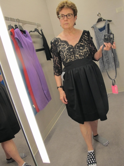 looking for a dress for iniece's wedding. nordstrom. Eliza J. $148. Black lace bddice with plunging v-neck and knee-length balloon skirt. Photo by Barbara Newhall