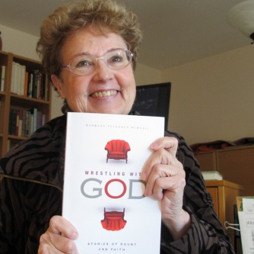 "Barbara Falconer Newhall, author of ""Wrestling with God,"" is shown with a copy of her book. 2015. Newhall is offering free copies of her book through the Goodreads Giveaway program. Photo by Barbara Newhall"