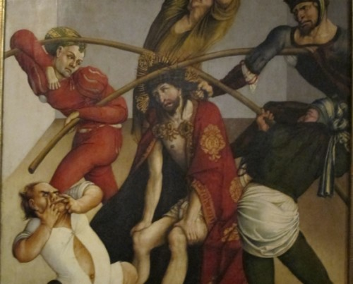 The flogging of Jesus Christ, and crucifixion, a painting at the Melk Abbey, Austria. Photo by Barbara Newhall
