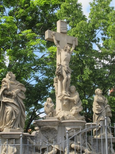 On the bridge at Bamberg. Crucifixion of Jesus surrounded by martyrs and apostles. Photo by Barbara Newhall