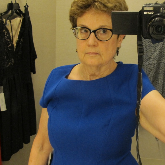 Searching for a dress for an aunt to wear to wear to a niece's wedding. this blue spandexy ones was at nordstrom. by Eliza J. $104.90. Photo by Barbara Newhall