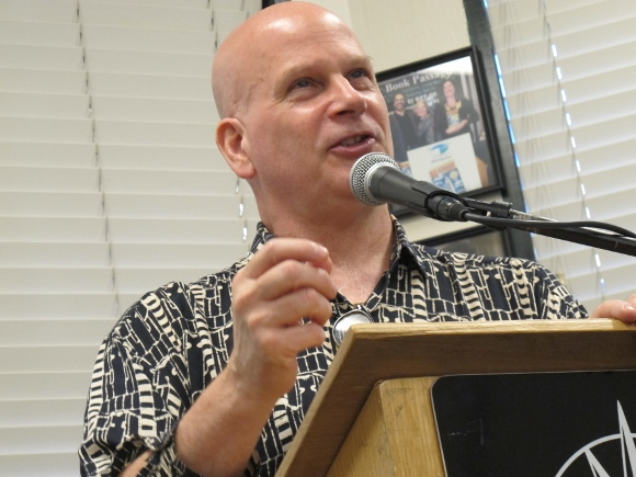 "david corbett, crime writer and travel and writing teacher, speaks at 8-3-2015 meeting of Left Coast Writers, book passage, corte madera on the occasion of pub of ""The Mercy of the Night'  Photo by Barbara Newhall"
