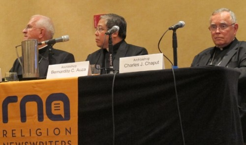 Archbishops Joseph E. Kurtz, Bernardito C. Auza and Charles J. Chaput spoke on Pope Francis and his US visit at a meeting of the Religion Newswriters Association in Philadelphia, August 28, 2015